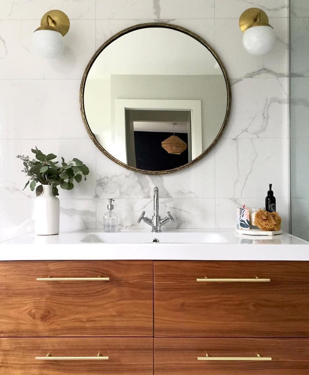"""Photo of Semihandmade on Instagram: """"@healthymumma613 showing off our Walnut fronts (alongside the perfect amount of white and brass) on an IKEA Godmorgon cabinet!"""""""