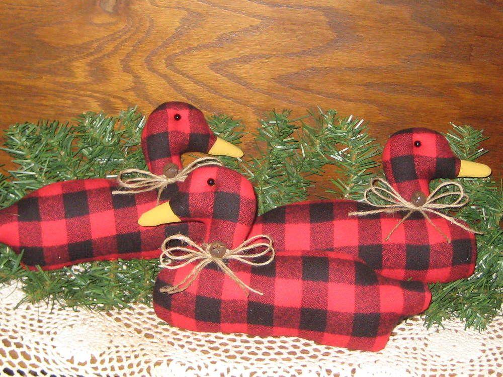 3 Handmade Buffalo Plaid fabric Ducks Bowl Fillers Country Christmas