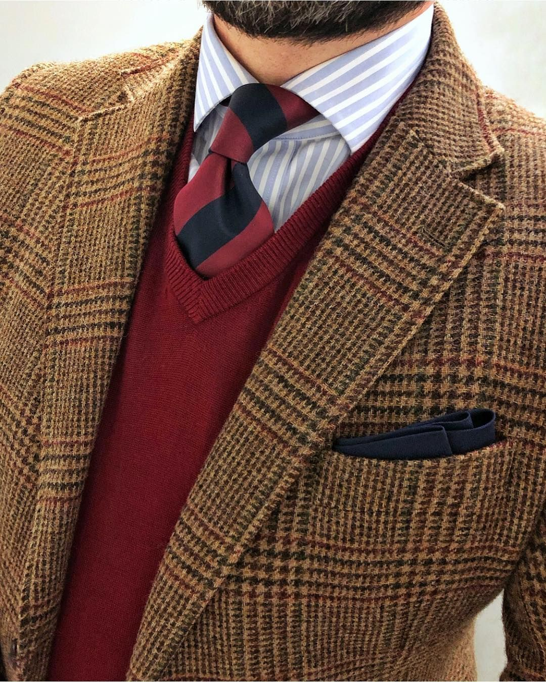 Tweed jacket, maroon sweater, striped tie | Mens outfits