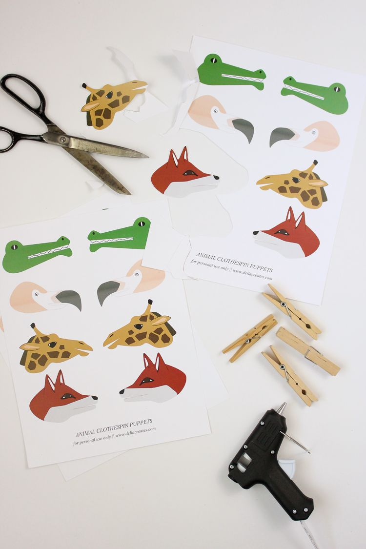 clothespin animal puppets free printable kids crafts puppets