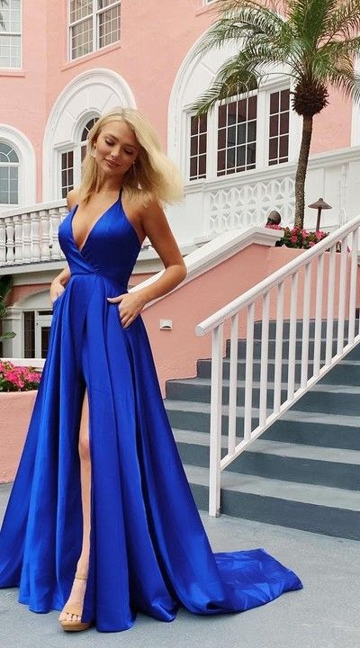 Fashion Slit Prom Dress,Royal Blue Formal Party Dress from Sancta Sophia #schooldancedresses