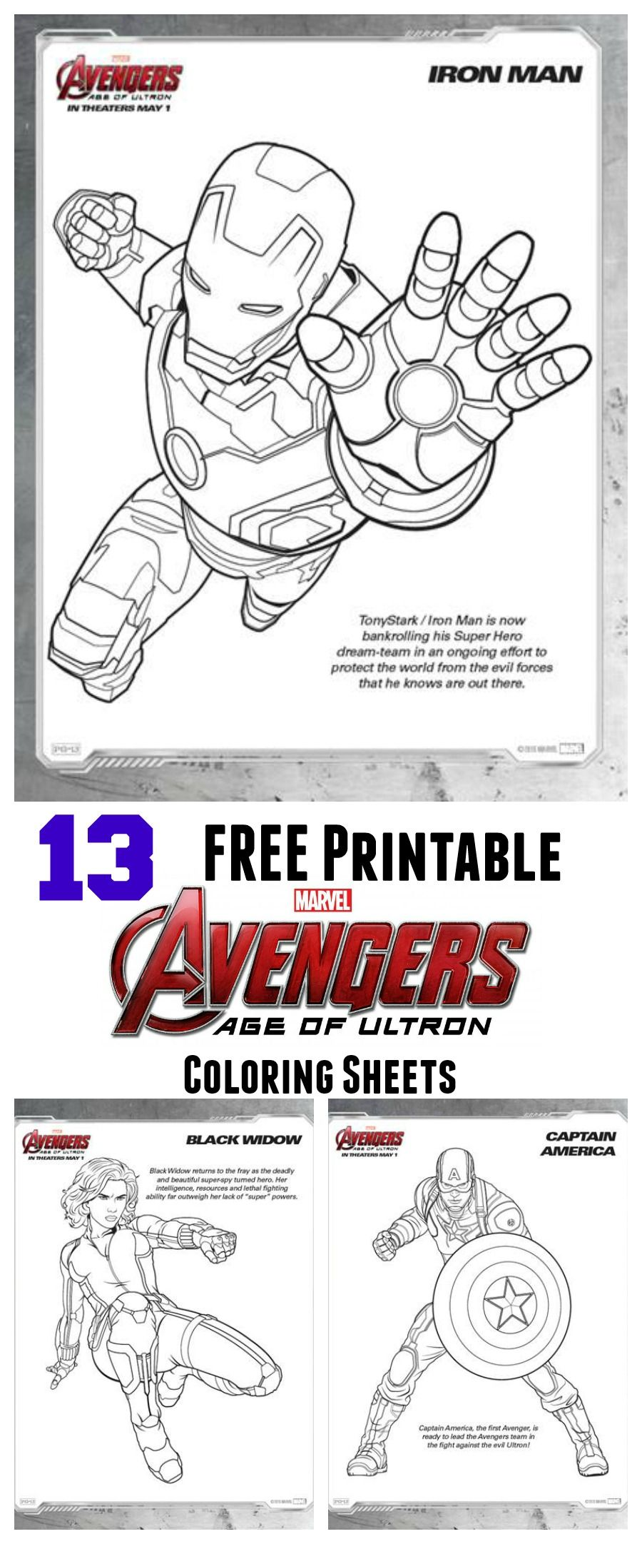 Print FREE Age of Ultron coloring sheets!   My Best Pins   Pinterest