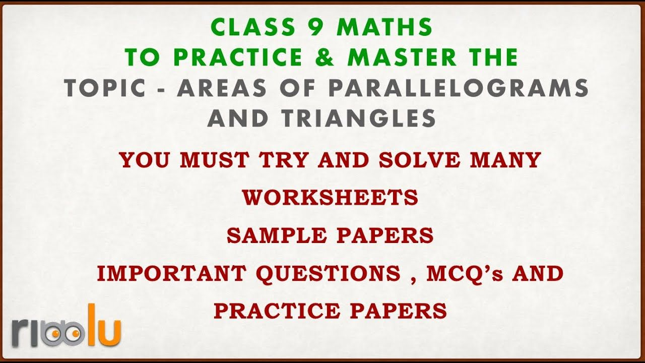 Areas Of Parallelograms And Triangles Chapter 9 Class 9 Maths Samp Sample Paper Studying Math Math [ 720 x 1280 Pixel ]