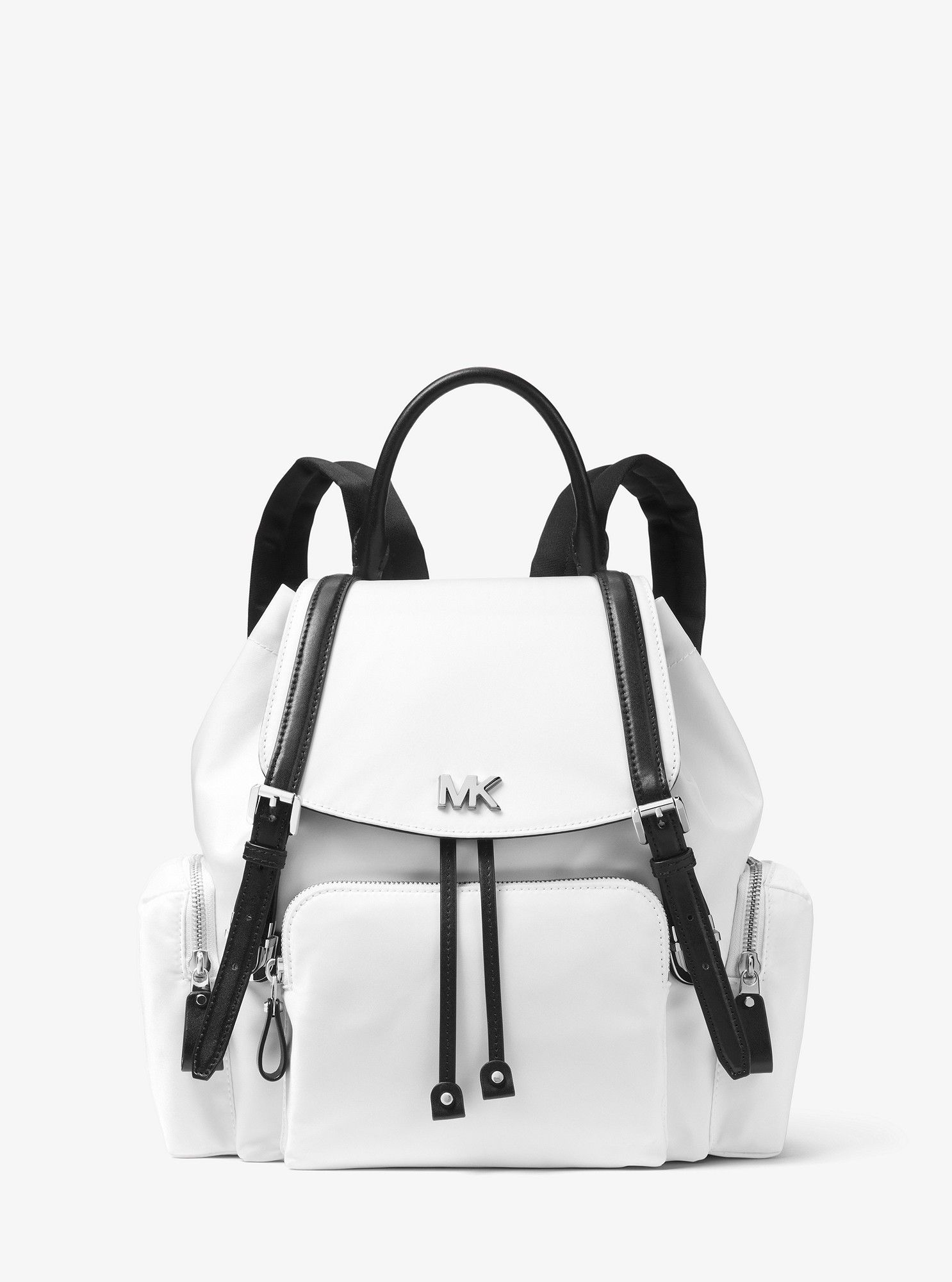 52f9680ad83a Michael Kors Beacon Medium Nylon Backpack - Optic White/Blk ...
