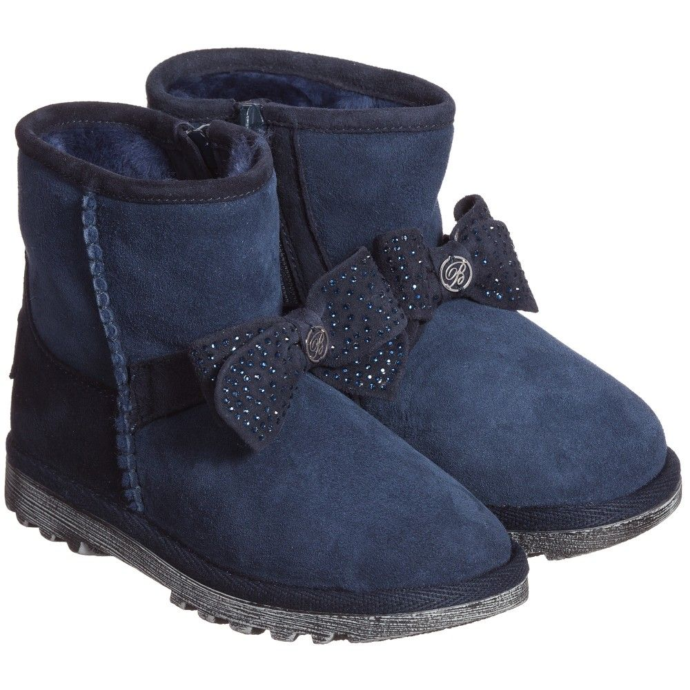 Navy Blue Suede Boots with Synthetic Fur Lining Blue