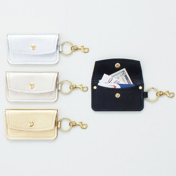 Metallic leather keychain wallet leather keychain credit card metallic leather keychain credit card wallet black leather id wallet business card holder gift card presenter metro card pouch colourmoves
