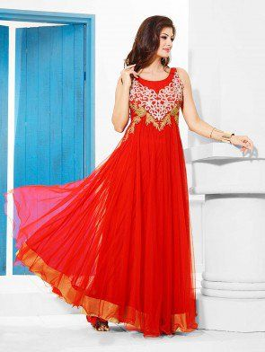 e0afbf47867c41 Red Net With Santone Inner Wedding Gown (Free Size) | Wedding Gown ...