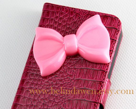 Iphone 5 Case, bow iphone 5 case, pink Crocodile pu leathe iphone Case, pink bow iphone case