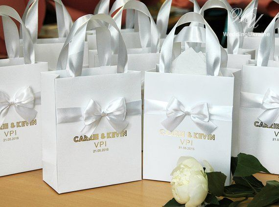 70 Luxury Wedding Gift Bags With Satin Ribbon Bow And Gold Foil