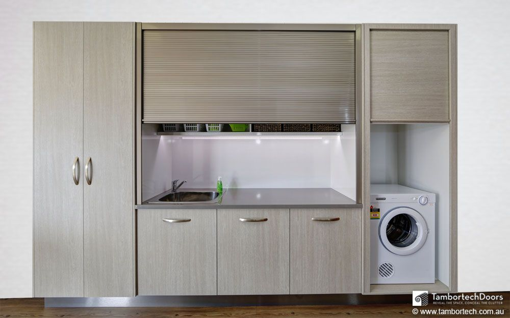 Tambortech Door : Kitchen Cupboard , Pantry , Laundry Doors That Roll Up.  They Roll Up Rather Than Open Out. These Tambour Doors For Kitchen Cabinets,  ...