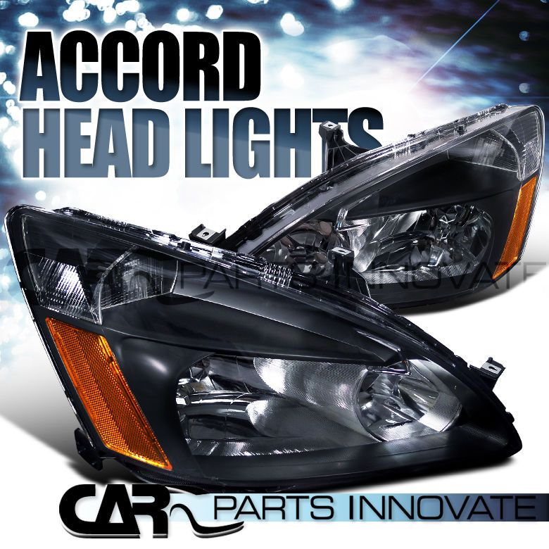 Great Fit HONDA 03 07 ACCORD 2/4DR COUPE SEDAN JDM CRYSTAL HEADLIGHTS BLACK  #SPECDTuning