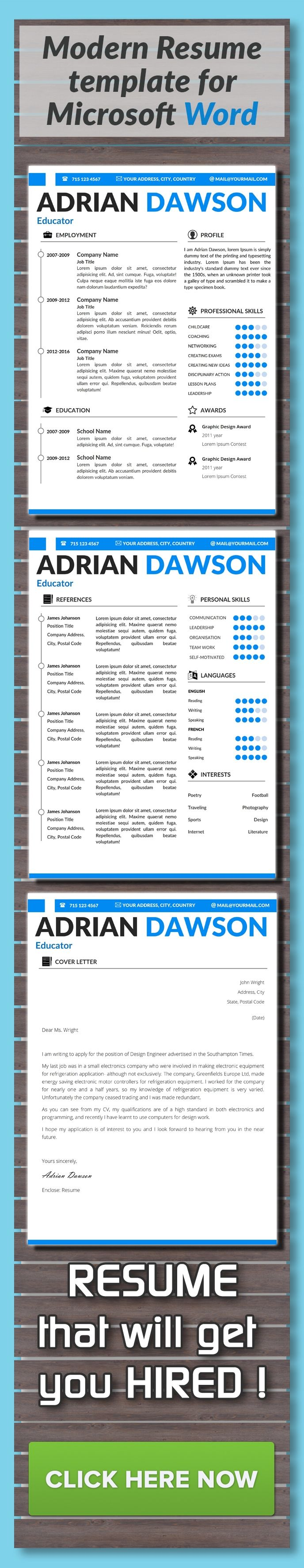 resume template   cover letter  cv template  curriculum vitae  instant download  lebenslauf