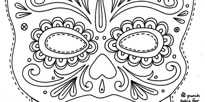 Day Of The Dead Masks Coloring Pages Coloring Number Skull