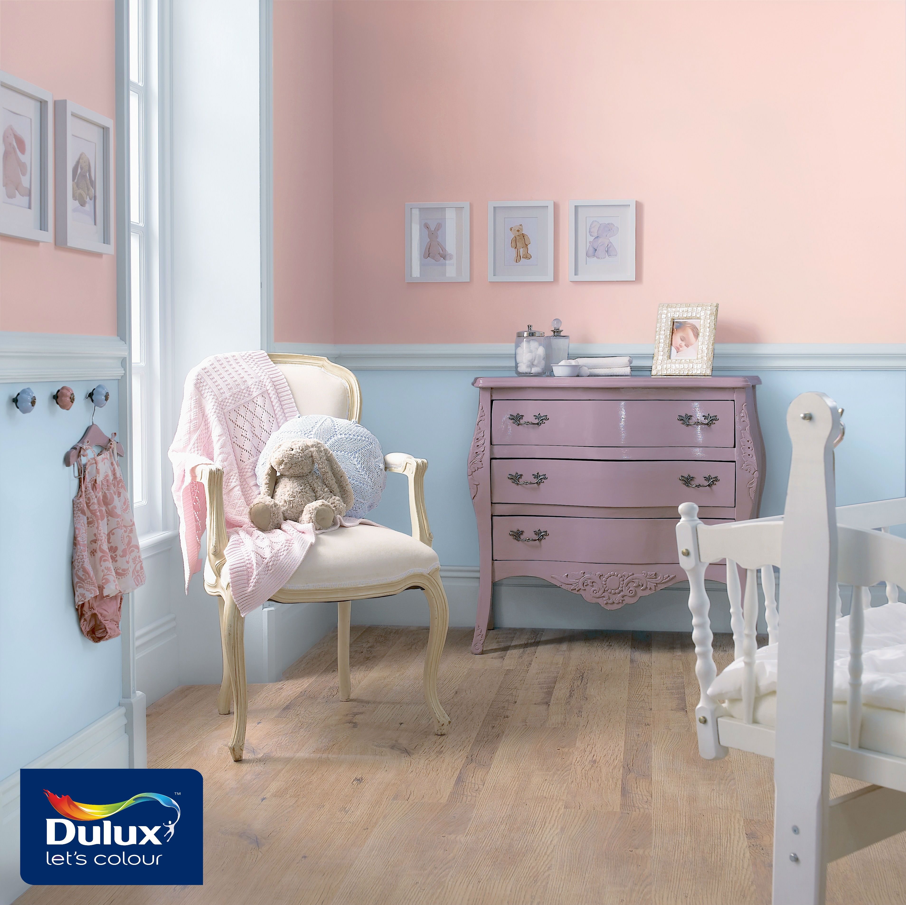 For a pastel coloured bedroom for your little one try out dulux all soft petal
