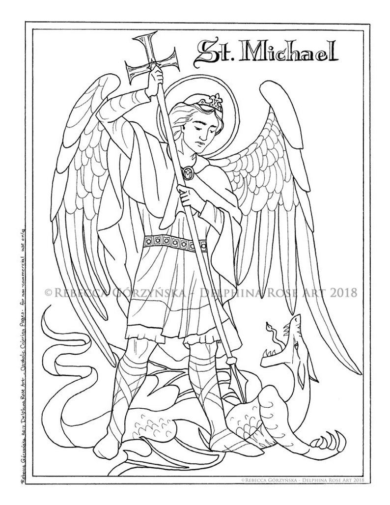 St Michael The Archangel Pdf Catholic Coloring Page Etsy Catholic Coloring Coloring Books Coloring Pages