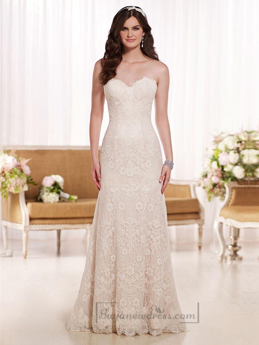 Scalloped sweetheart aline lace wedding dresses wedding dress