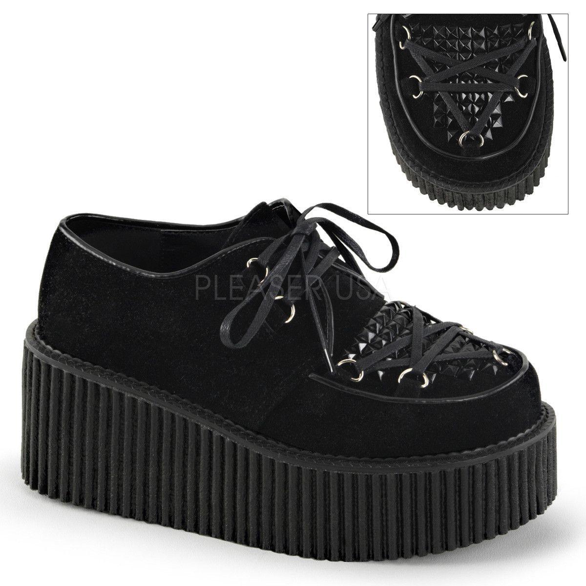 DEMONIA Women/'s Black Vegan Suede Wedge Platform D-Ring Lace Up Creeper Shoes