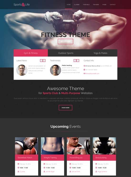 SportsLife-Gym-Fitness-HTML-Template Sports websites Pinterest - fitness templates free