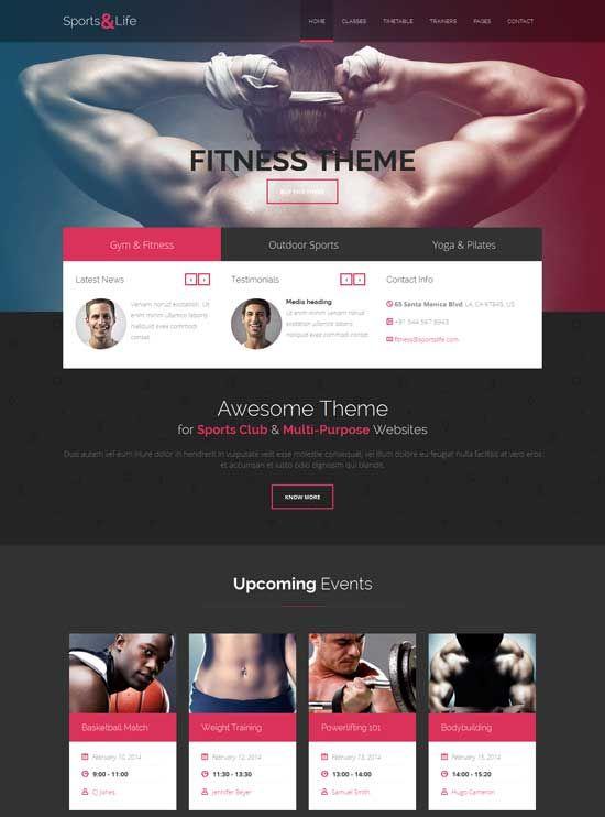 SportsLife-Gym-Fitness-HTML-Template Sports websites Pinterest