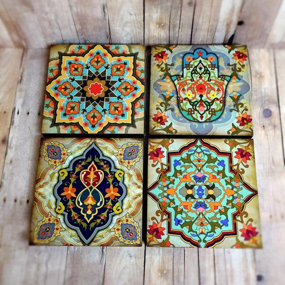 Moroccan Wall Art Set Hamsa Block Set Of 4 Hamsa Wall Art Set Hamsa Hand Wall Art Moroccan Art Hamsa Hand Gift 4 Moroccan Wall Art Etsy Wall Art Wall Art Sets