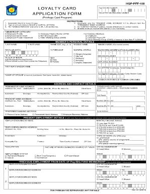 Loyalty Card Application Form  PagIbig Fund