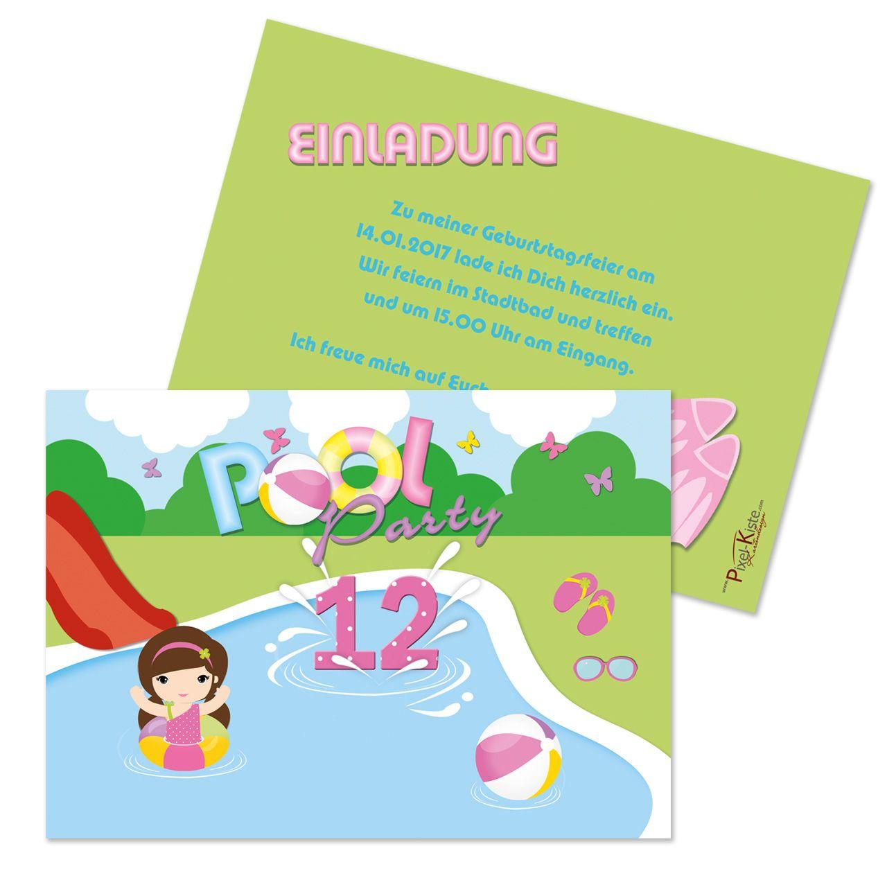 einladungskarten poolparty mädchen | einladungskarten