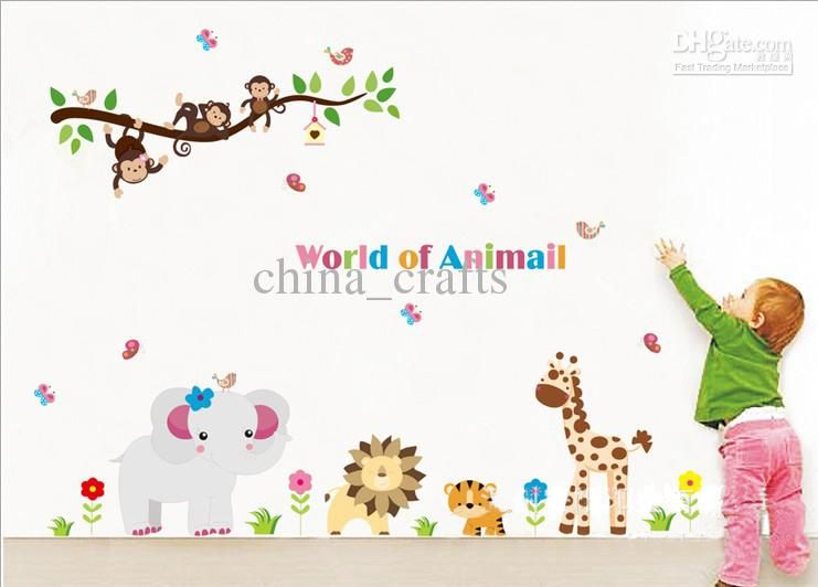 wholesale removable kids wall stickers world of animals wall art