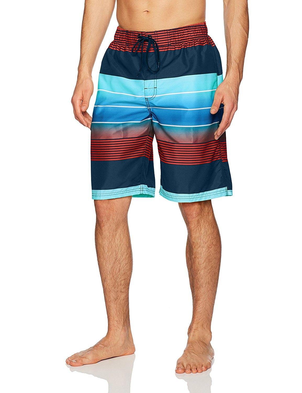 e05a1f413b Men's Echelon Stripe Quick Dry Beach Board Shorts Swim Trunk - Navy/Red -  CX187DXY0TS,Men's Clothing, Swim, Board Shorts #men #fashion #style  #outfits #gift ...
