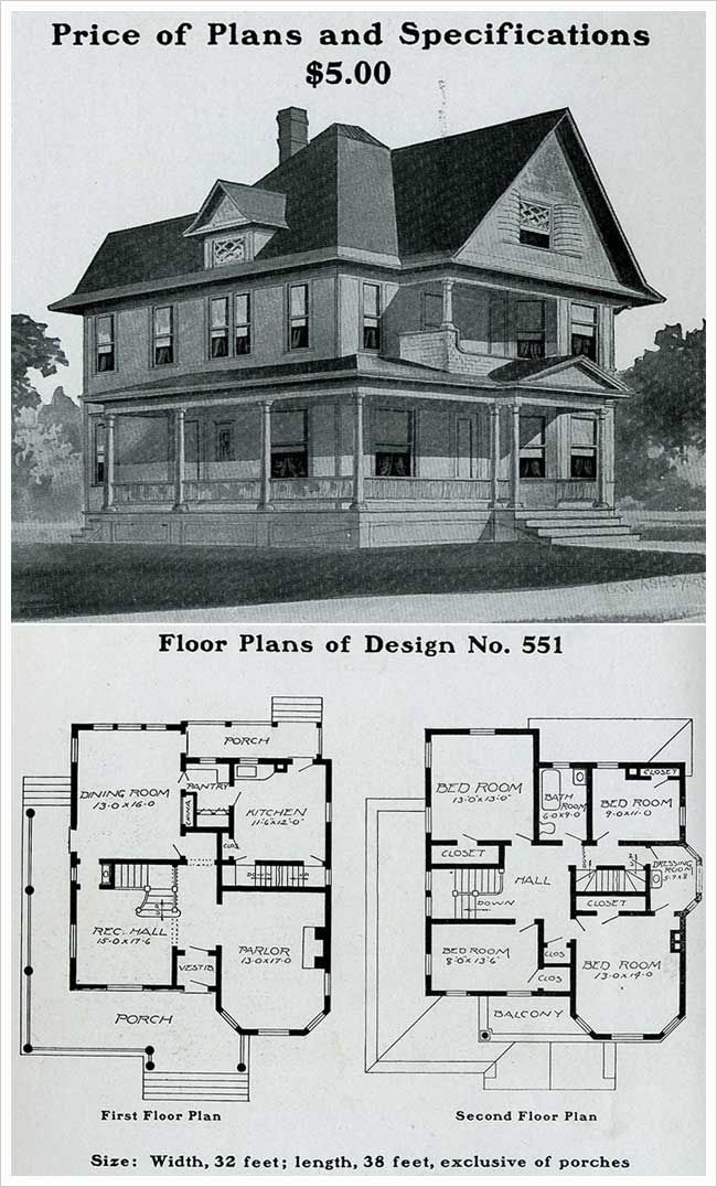 Radford 1903 Queen Anne Prominent Forward Gable Free Classic Elements Wrapped Porch Victorian House Plans House Plans Mansion Vintage House Plans