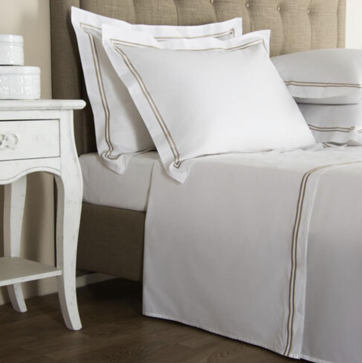 Frette Hotel Classic Collection Shams - Standard / White/Khaki