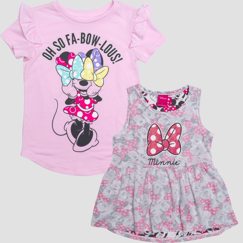 2b8315a99 Toddler Girls' Disney Mickey Mouse & Friends Minnie Mouse Fabowlous Short  Sleeve T-Shirt - Pink Heather 4T