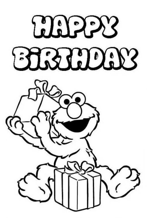 Happy Birthday From Elmo Sesame Street Coloring Picture Fun