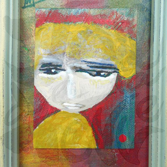 Sad Face Framed Art Painting Sad Face Portrait Abstract Wall Art ...