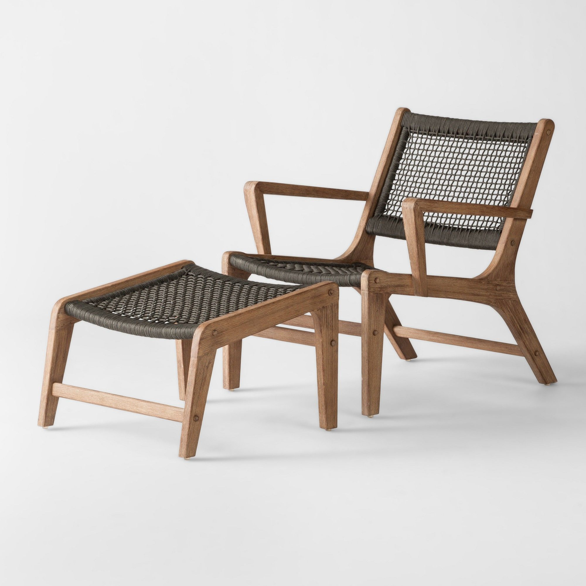 Sensational Modern Outdoor Project 62 Oceans 2Pc Wood Rope Patio Club Squirreltailoven Fun Painted Chair Ideas Images Squirreltailovenorg
