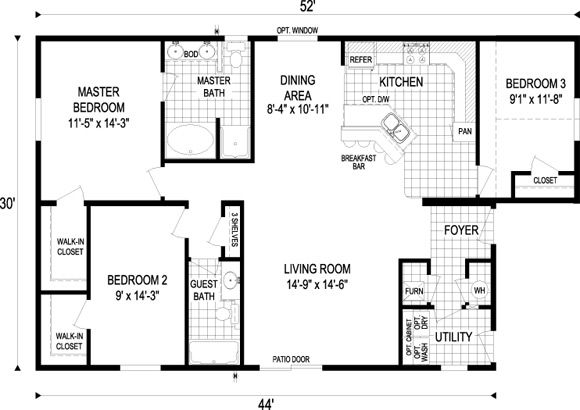 1000 Square Foot Floor Plans 1 000 1 500 Sq Ft Floor Plan Kimberly 1 440 Sq Ft 3 Bdrms Small House Floor Plans Modern House Plans New House Plans