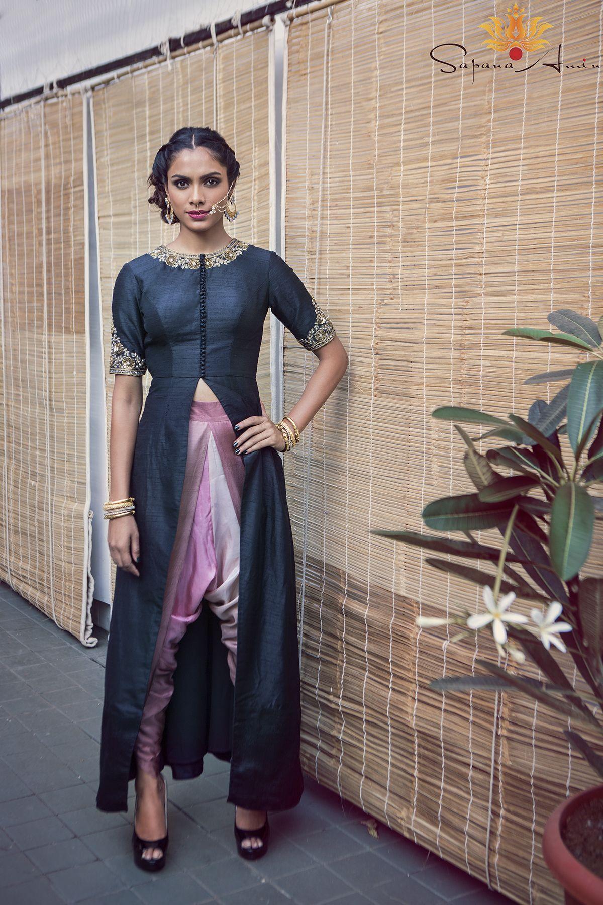 9e506700a6b Black raw silk long jacket with shaded dupion silk dhoti pants | 1 ...