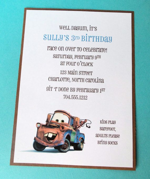Mater birthday party invitation cars lightning by bloomingevents items similar to mater birthday party invitation cars lightning mcqueen tow mater on etsy filmwisefo Gallery