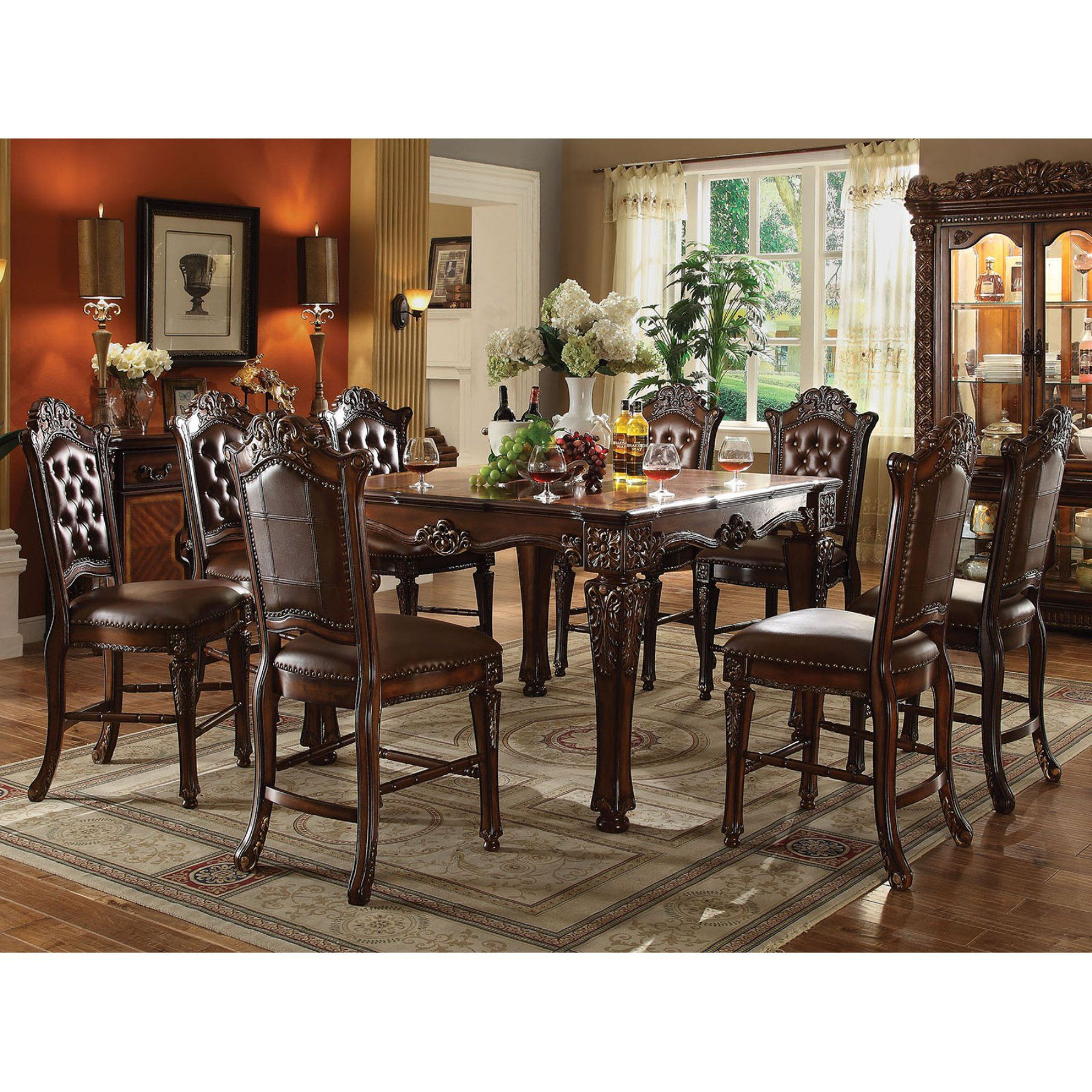 Acme Furniture Vendome 9 Piece Square Counter Height Dining Table Custom Acme Dining Room Set Review