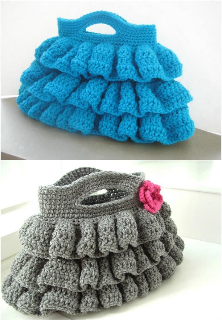 Crochet-Ruffled-Bag-Free-Pattern.jpg (720×1037) | Bags | Pinterest ...