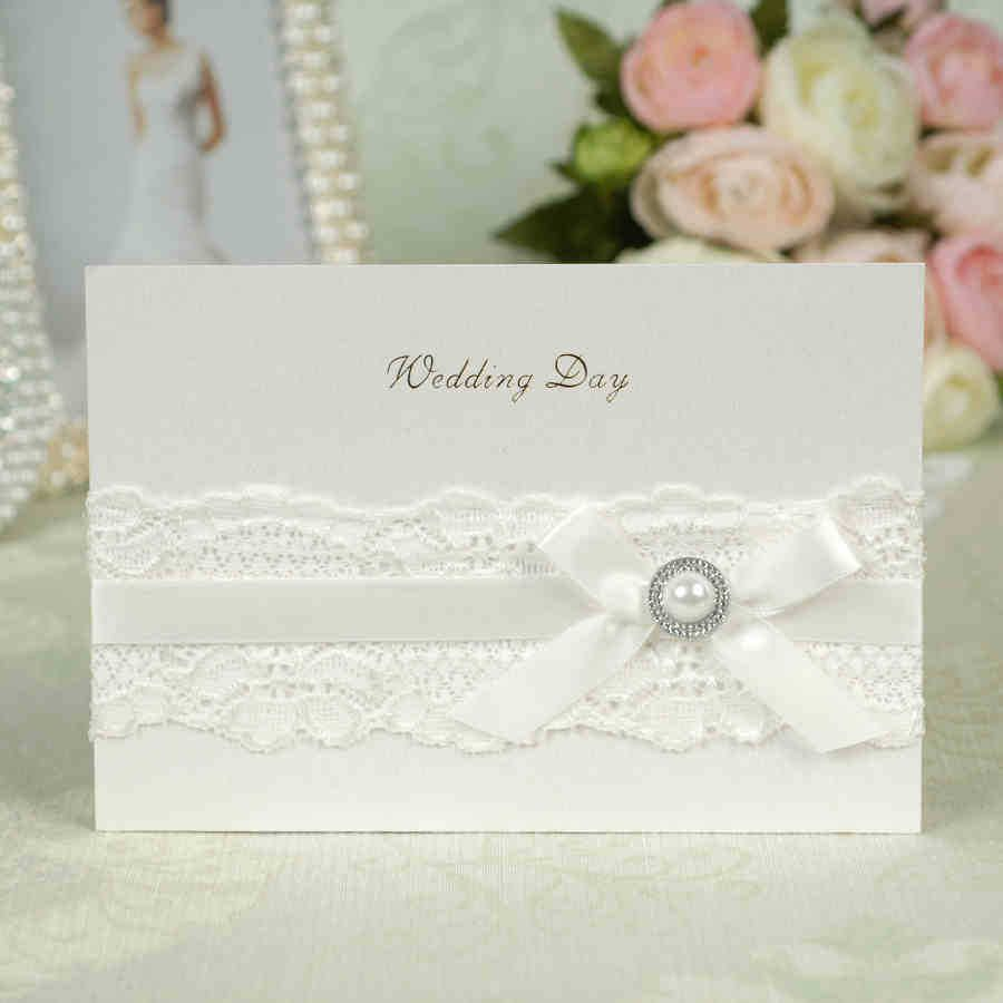 Wholesale pure handmade white lace Gilding wedding invitation card ...