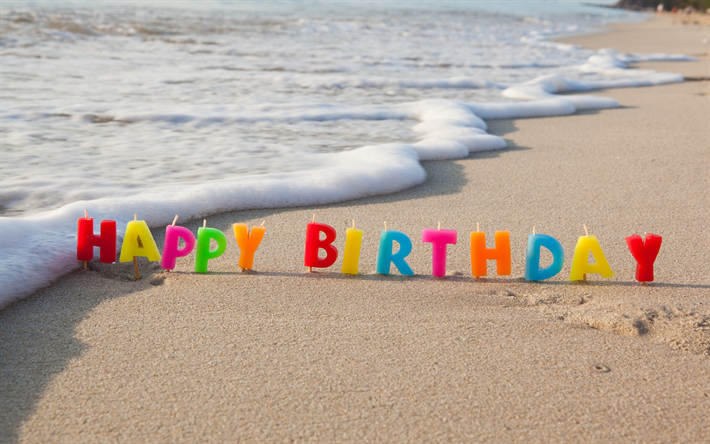 Scarica Sfondi Buon Compleanno Candele Spiaggia Sabbia Mare