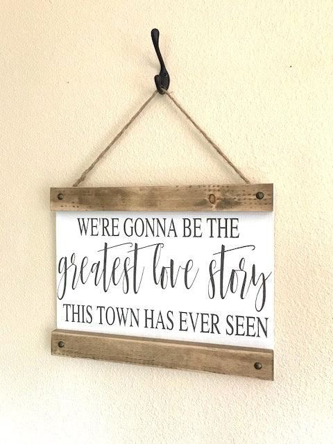 Farmhouse Decorating Ideas – Love Story Wood Hanging Sign – First Anniversary Gift