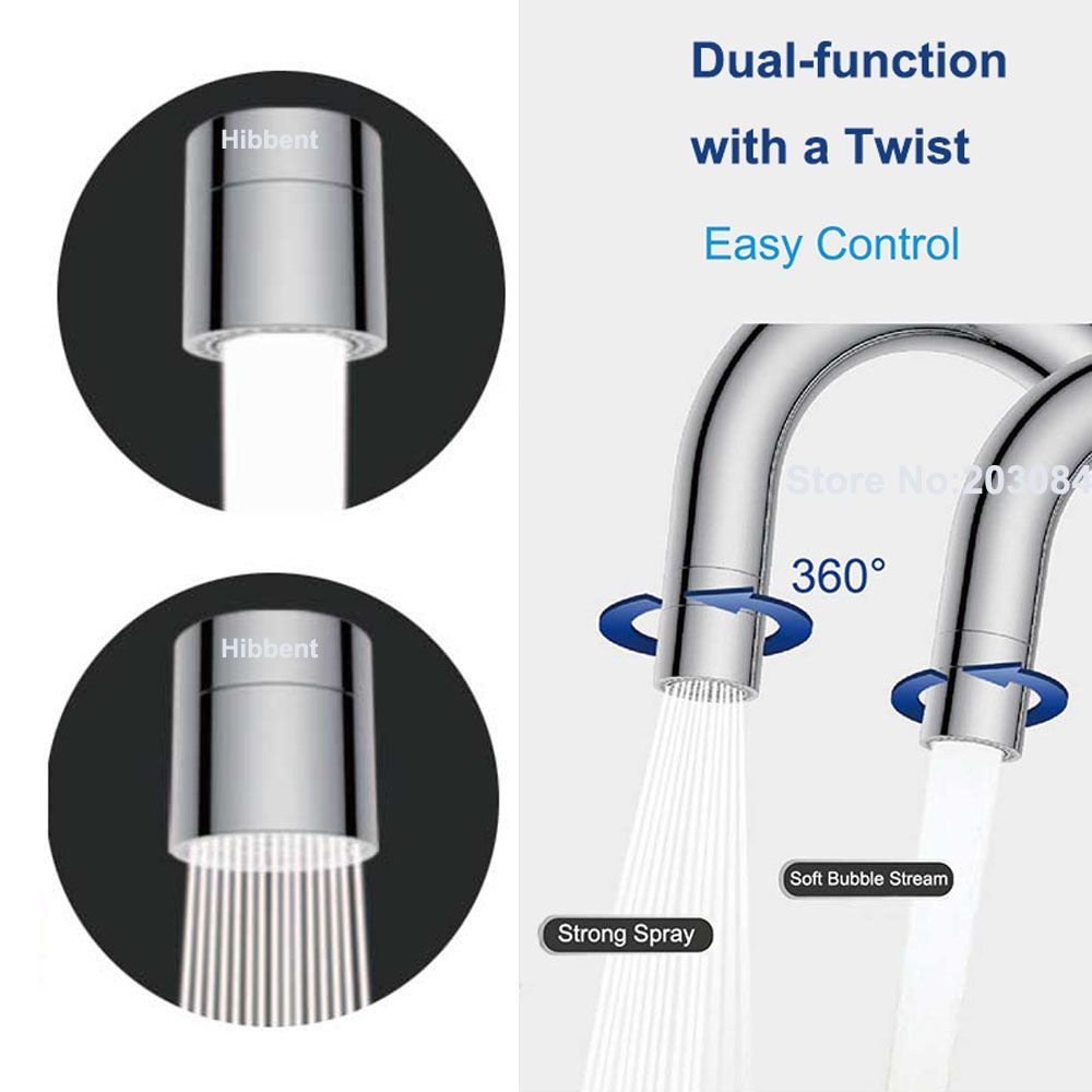 Dual Function 2 Flow Water Saving Faucet Aerator, 360 Degree Swivel Aerator