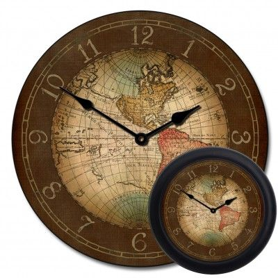 17th century map clock with optional frame nifty house stuff give your room a sophisticated old world appeal with one of our large charming vintage clocks get the antique look at the big clock store today gumiabroncs Image collections