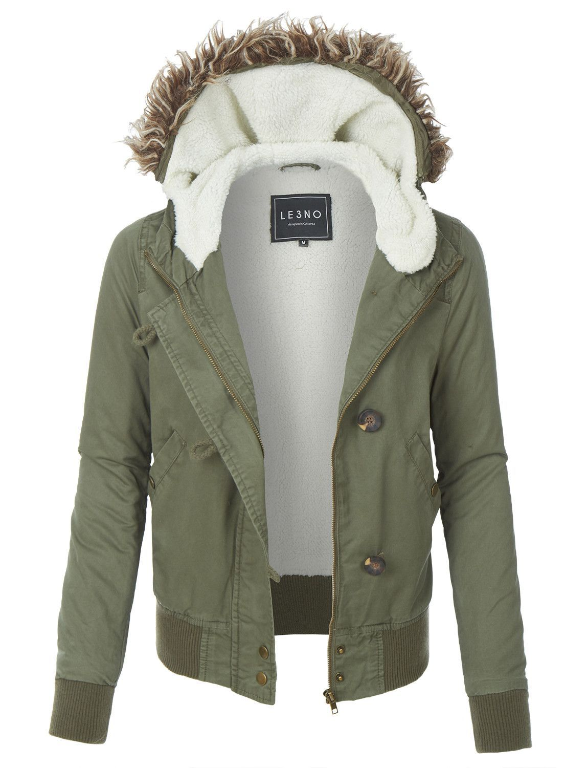 Le3no Womens Sherpa Lined Anorak Bomber Hoodie Jacket With Pockets Womens Sherpa Women Anorak Womens Anorak Jacket [ 1500 x 1150 Pixel ]