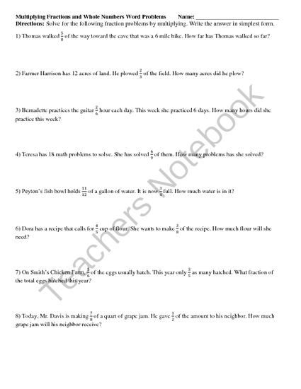 multiplying fractions whole and mixed numbers word problems from  multiplying fractions whole and mixed numbers word problems from  reincke on teachersnotebookcom   pages  worksheets that involved  the