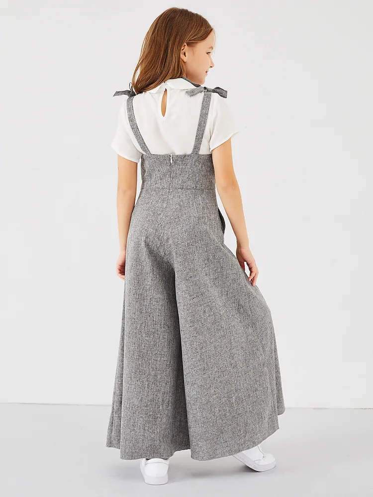 الفتيات الرمز البريدي عودة القوس الشريط بذلة شين الولايات المتحدة الأمريكية Jumpsuits For Girls Girls Fashion Clothes Kids Dress