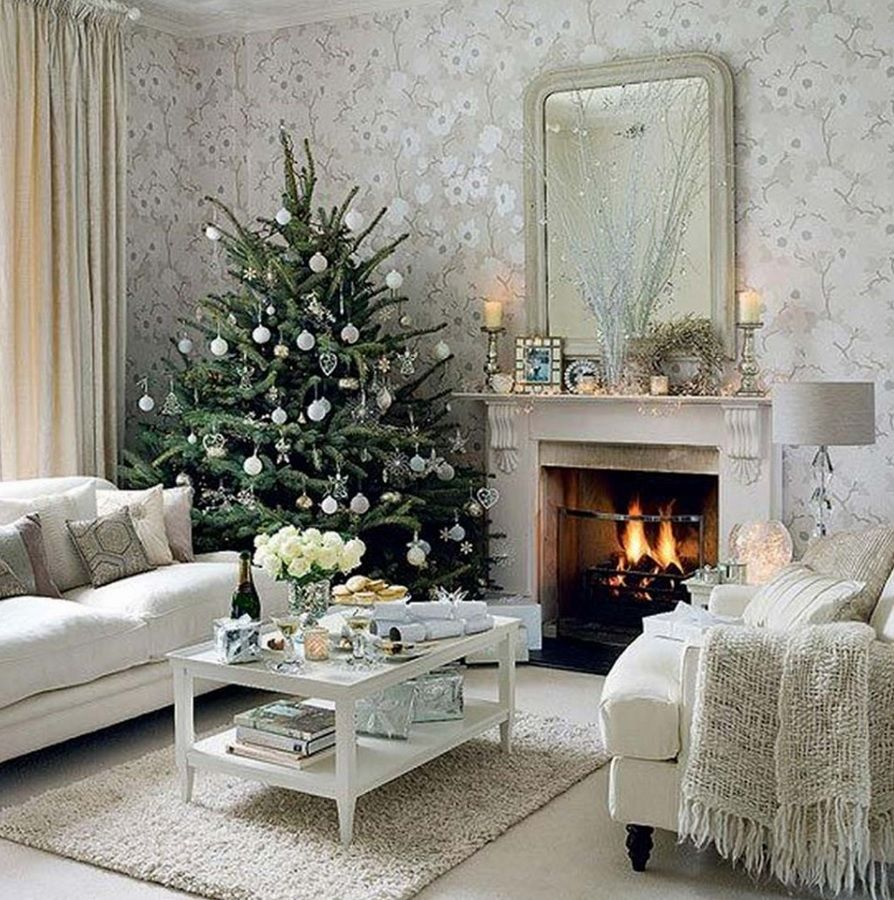 All-White Christmas Holiday Decor. Elegant. Chic. Living Room with Fireplace. #christmastree