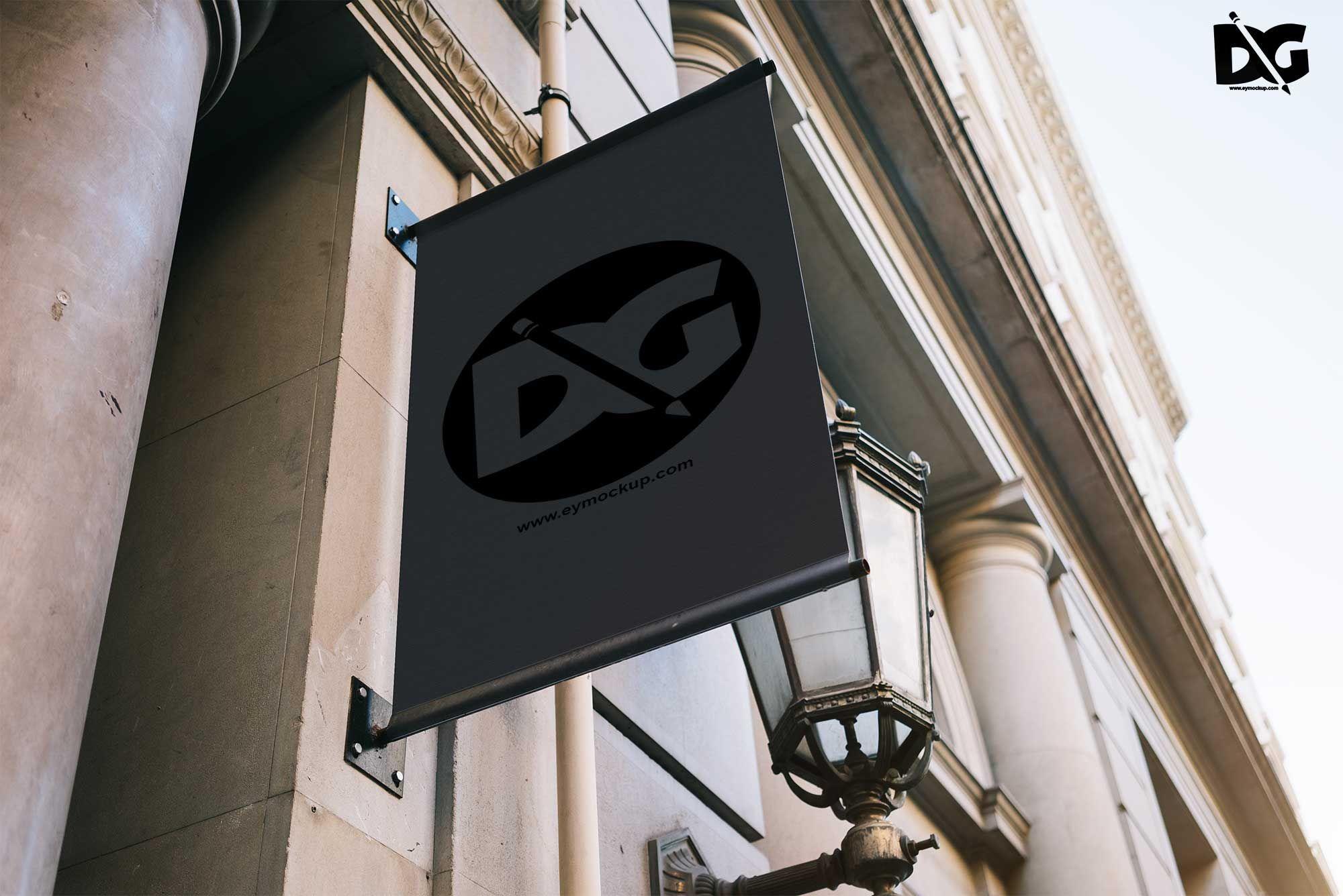 Shop Vertical Hanging Logo Mockup Free logo mockup
