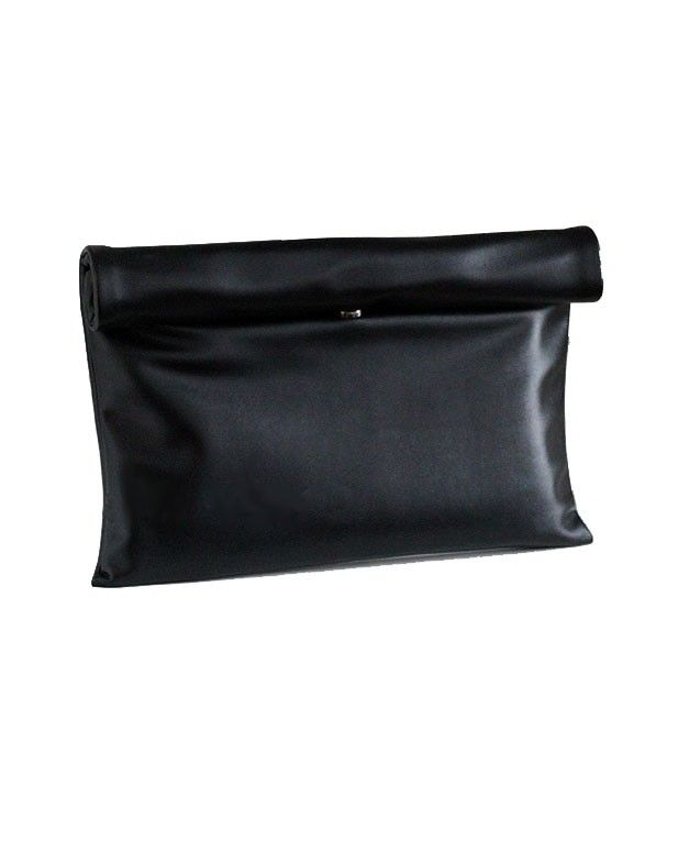 #chicnova $92 Black Rectangular PU Leather Clutches with Rolled Design